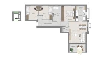Kornwestheim 4 1/2 Zimmer Q8 - 5B