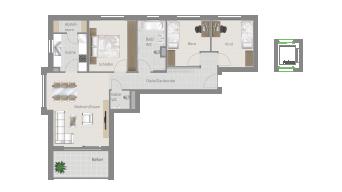 Kornwestheim 4 1/2 Zimmer Q8 - 8B