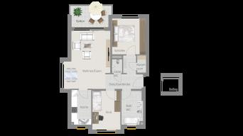 Neckarweihingen 3 1/2 Zimmer V6 - 3B