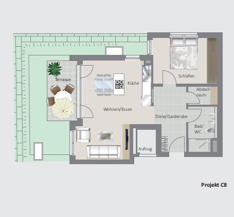 Erstbezug für Gartenliebhaber- hochwertige 2,5 Zimmer- Wohnung im Erdgeschoss