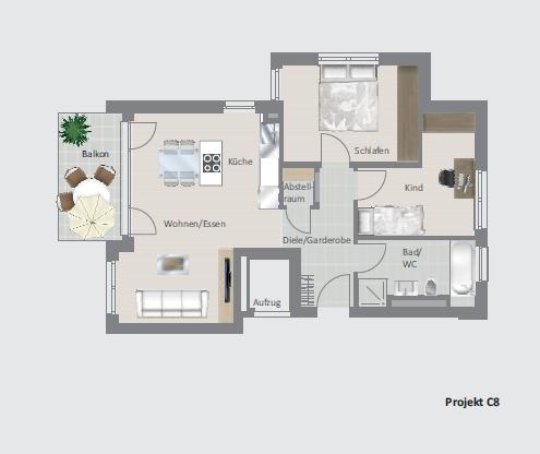 Ihre neue moderne 3,5 Zimmer- Wohnung im Neubau!