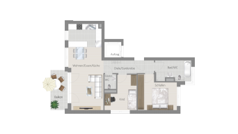 Fellbach 3 1/2 Zimmer V8 - 3C