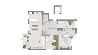 Fellbach 4 1/2 Zimmer V8 – 3D