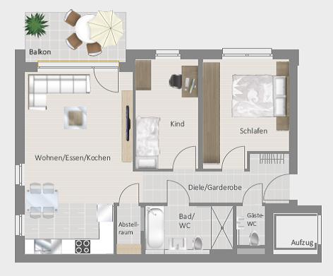Löchgau: Mathilde-Planck-Str. 37 – 3,5-Zimmer mit Balkon